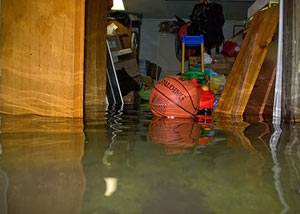 A flooded basement bedroom in Braselton